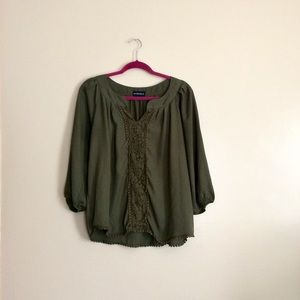 My Michelle Green Sheer Lace Blouse